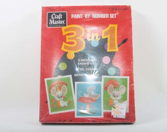 Craft Master, Paint By Number, Set, 3 in 1, Pictures, Oil Colors, Artist's Brush, In a Box, Unopened, Cute, Animals ~ The Pink Room ~ 160908