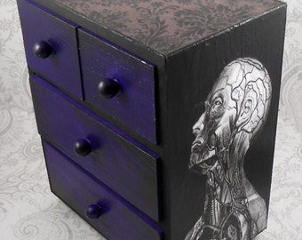 Black and Purple Vintage Anatomy Stash Jewelry Box