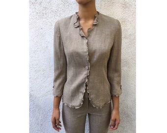 Vintage Giorgio Armani Women's Beige Pinstripe Suit with ruffle jacket Size 40