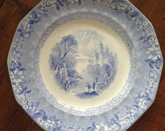 Antique Blue Transferware Plate, Delaware, Charles Harvey, England, Transfer Ware, English Country Decor, Collector Gift, Farmhouse Decor