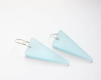 Beach Glass Earrings, Frosted Aqua Glass, Sterling Silver, Ready to Ship