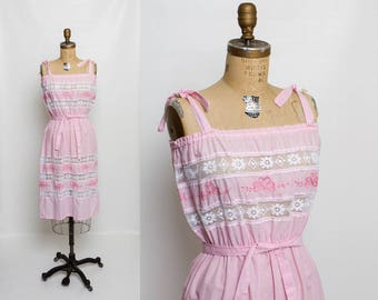 vintage 70s embroidered lace sundress | 1970s pink dress