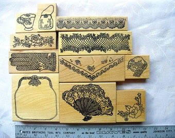 Beautiful Southern Tea Time DESTASH 11 LARGE Rubberstamp Lot, Me and Carrie Lou, Purse, Fan, lace border, handkerchief, tea cup, glove