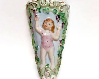 Vintage Porcelain Wall Pocket