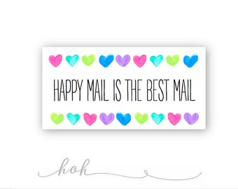JUMBO SIZE! Happy Mail is the Best Mail | Small Shop Packaging Stickers | 10 stickers per page - 3X2 inch stickers | BHMBM2