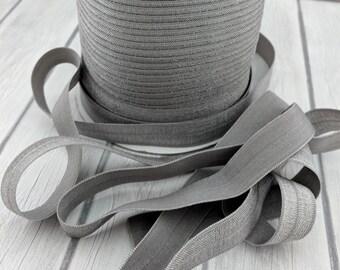 """10 YARDS-5/8"""" Silver Fold Over Elastic-Baby Headbands-Trim-FOE--5/8 Inch-10 YARDS"""