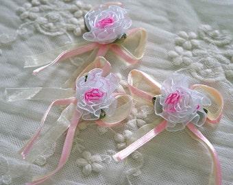lovely Organza Satin Ribbon Flower Appliques -20pcs