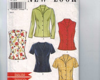 Misses Sewing Pattern New Look 6598 Misses Button Front Shirt Sleeveless Top Size 8 10 12 14 16 18 UNCUT