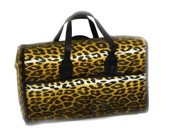 Vintage Insulated Cooler Leopard Vinyl Insulated Picnic Basket