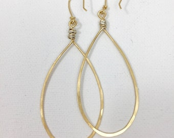 Mixed Metal Gold And Silver Pear Shaped Hoop Earring #632