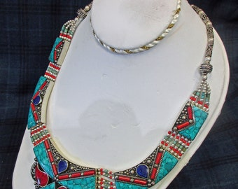 Hand Made, 23 year old, South American Jewelry, Turquoise, Coral and Lapis. Beautiful Created Necklace, Excellent Condition.  K-1 2026a