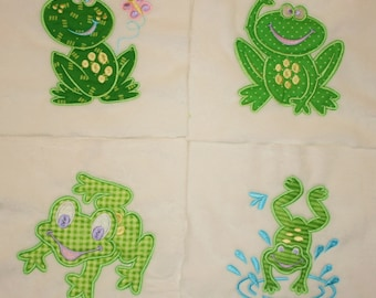 """Appliqued Minky Quilt Squares"""" Frogs"""""""