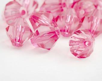 Light Pink Acrylic Beads Faceted Bicone 13mm (20)