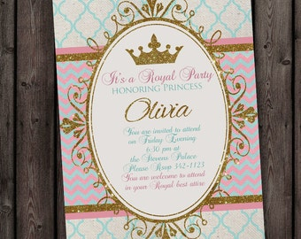 Princess invitation pink gold and mint teal royal princess princess invitation royal party gold elegant with free wording customization stopboris Image collections