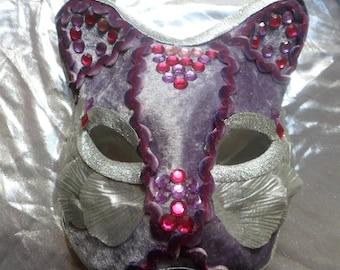 Venetian mask, silver and purple cat mask