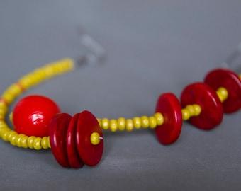 Assymetric earrings Mismatched earrings Long earrings Beaded earrings Wooden earrings Bright Red earrings Yellow earrings Rustic earrings