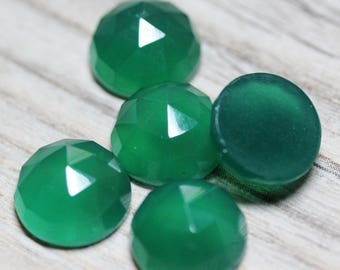 Irish Green Onyx Faceted Polished 11mm Round Cabochons - 5 Pieces