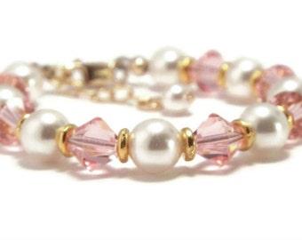 Baby Bracelet, Baby Pearl Bracelet, Baby Shower Gift, Flower Girl Bracelet, Baby Jewelry, Pearl Jewelry, Bracelet for Baby (B-21)