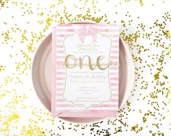 Girl First birthday invitation, Handmade girl first birthday, Ribbons & bows, Pink, gold 1st birthday invite, Watercolor, gold glitter
