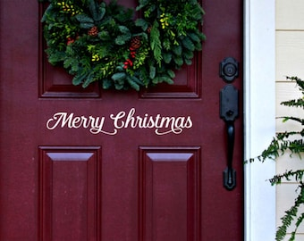 MERRY CHRISTMAS Door Decal, Holiday Decal, Vinyl Wall Art,  Custom Vinyl Lettering
