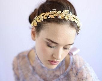 Bridal headband - Holly leaf gilded headband - Style 651 - Made to Order