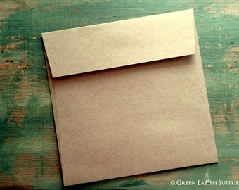 "50 Mini Square Envelopes, 3 1/4"" (83mm) or 4"" (102mm) Squared, Kraft Brown Envelopes, 3.25x3.25"" or 4x4"", grocery bag, recycled eco-friendly"
