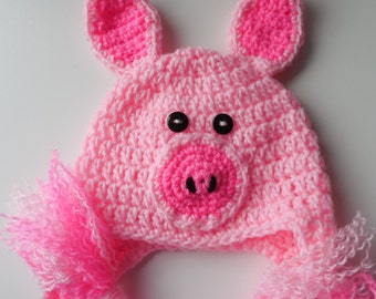 Animal Hat Adult - Pig Earflap Hat - Piggy Hat - Pink Fun Hat - Baby to Adult Sizing - Party Pig Hat - Crochet - Handmade - Made to Order