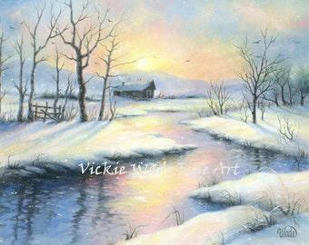 Winter Landscape Art Print, snow paintings, cabin in snow, river painting, beautiful snow landscape, winter landscape, Vickie Wade Art