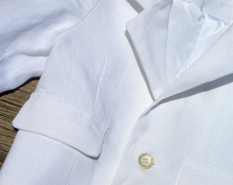 Baptism/Christening Outfit Set for Boys in White, 100% Linen