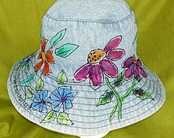Washed Denim Bucket Hat Hand Painted