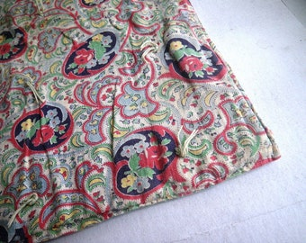 "Doll Bedspread Quilt 13"" x 22"" / Feed Sack Cotton / Floral Paisley / Two Sides"