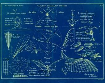 Vintage 1852 Flying Machines Blueprint 8.5x11 Print