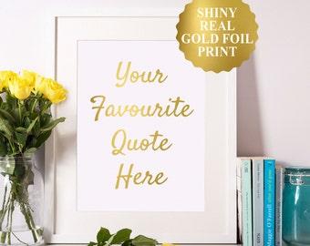 Custom Gold Foil Print, Real Gold Foil Print, Custom Typography Print, Gold Foil Custom Wedding Sign, Custom Text Print