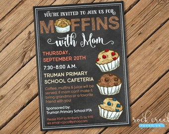 Muffins with Mom Invitation, Preschool, Daycare, Elementary School, Church, Breakfast party, Printable Event Invitation