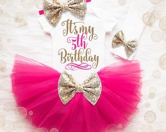 5th Birthday Outfit Girl | 5th Birthday Girl Shirt | Pink And Gold Birthday Outfit | 5th Birthday Tutu Set | Girl 5th Birthday Tutu Set