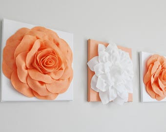Peach Wall Decor, Pastel Rose Art, Peach Bathroom Wall Art, Beach Nursery Decor, Flower Canvas Set, Floral Wall Art, Pink, Nursery Decor