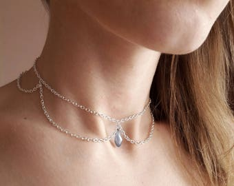 Silver Chain Choker, Layered Choker, Crystal Choker, Dainty Chain Choker, Chain Choker, Minimalist Silver Necklace, Silver Choker Necklace