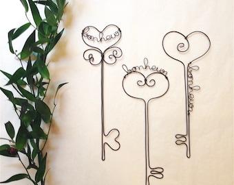 Decorative wire, key to happiness key