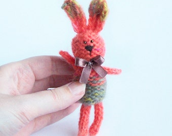 Rabbit decor Stuffed bunny with ribbon Home decoration Spring rustic country indoor decor Multicolor animal Gift for him her