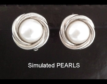 Clip On Earrings: Silver Plated Clip On Earrings with Simulated Pearls | Clip On Earrings, Pearl Clip On Earrings, Costume Earrings 151