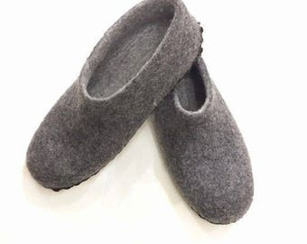 Gray Slippers Men Slippers Wool Slippers Felted Slippers Warm Slippers Eco Slippers Natural Slippers Organic Slippers House Home Shoes