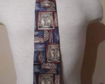 Vintage 1980s Wide Silk Tie with Steel Blue Ground with Urn, Medallion, and Frieze Motifs in Burgandy, Gray and Bronze by Bill Blass