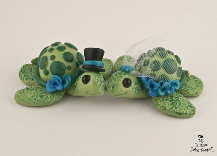 Turtle Wedding Cake Topper - Custom Pick your Colors
