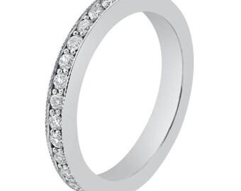 Women's White Gold Eternity Diamond Wedding Band B9