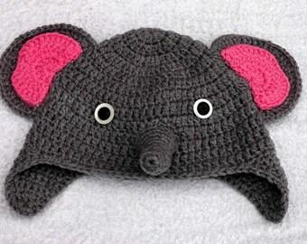 Elephant / Dumbo Crochet Hat with Ear Flaps! - Child / Kids Size - Machine Washable