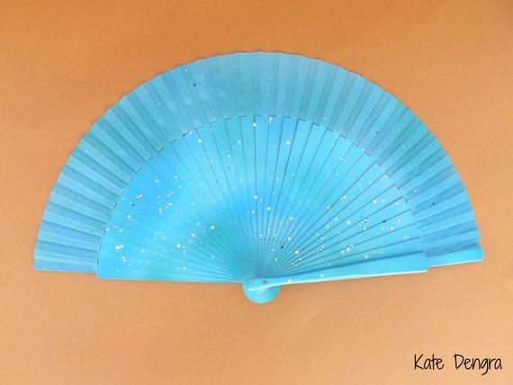 Seaside Glimmer Glitter Hand Fan