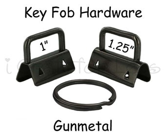 5 Key Fob Hardware with Key Rings Sets - 1 Inch or 1.25 Inch Gunmetal - Plus Instructions - SEE COUPON