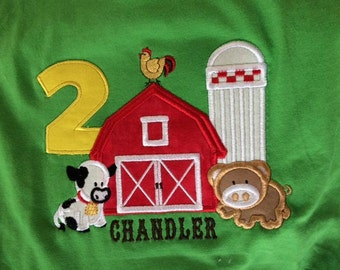 Farm Birthday Applique Shirt