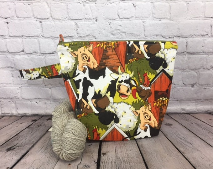 Autumn Farm Animals w/ Full length pocket, Knitting project bag, Crochet project bag,  Zipper Project Bag, Yarn tote