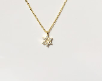 Star of David Necklace, in Gold Plated Sterling Silver • A Minimalist Necklace with Zirconia, The Perfect Judaica Gift for Kid's and Adults